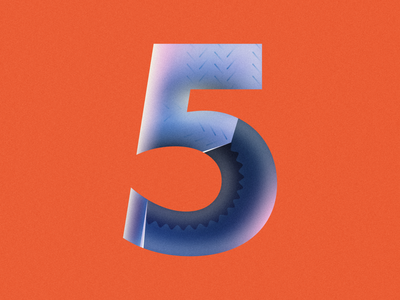 5 Gum • 36 Days of Type typography number 5 gum wrapper gum stick 5 gum chewing gum gum 36 days of type 36daysoftype design gradient food 2d flat vector minimal illustration