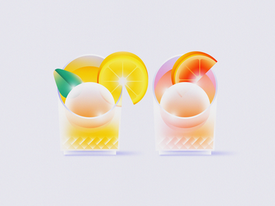 His & Hers Cocktails bar mixed drink ice ball grapefruit lemon glass his  hers wedding alcohol drinks cocktails cocktail design gradient food 2d flat vector minimal illustration