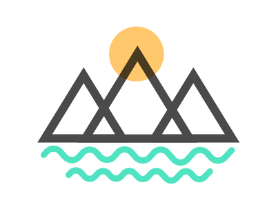 Mountains and Rivers abstract turquoise yellow gray branding brand logo sun rivers mountains