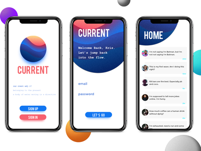 Current chat current news ux user ui mobile social media x iphone interface app