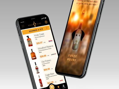 Boozehound Shopping App booze alcohol iphone logo branding ui ios app shopping digital retail