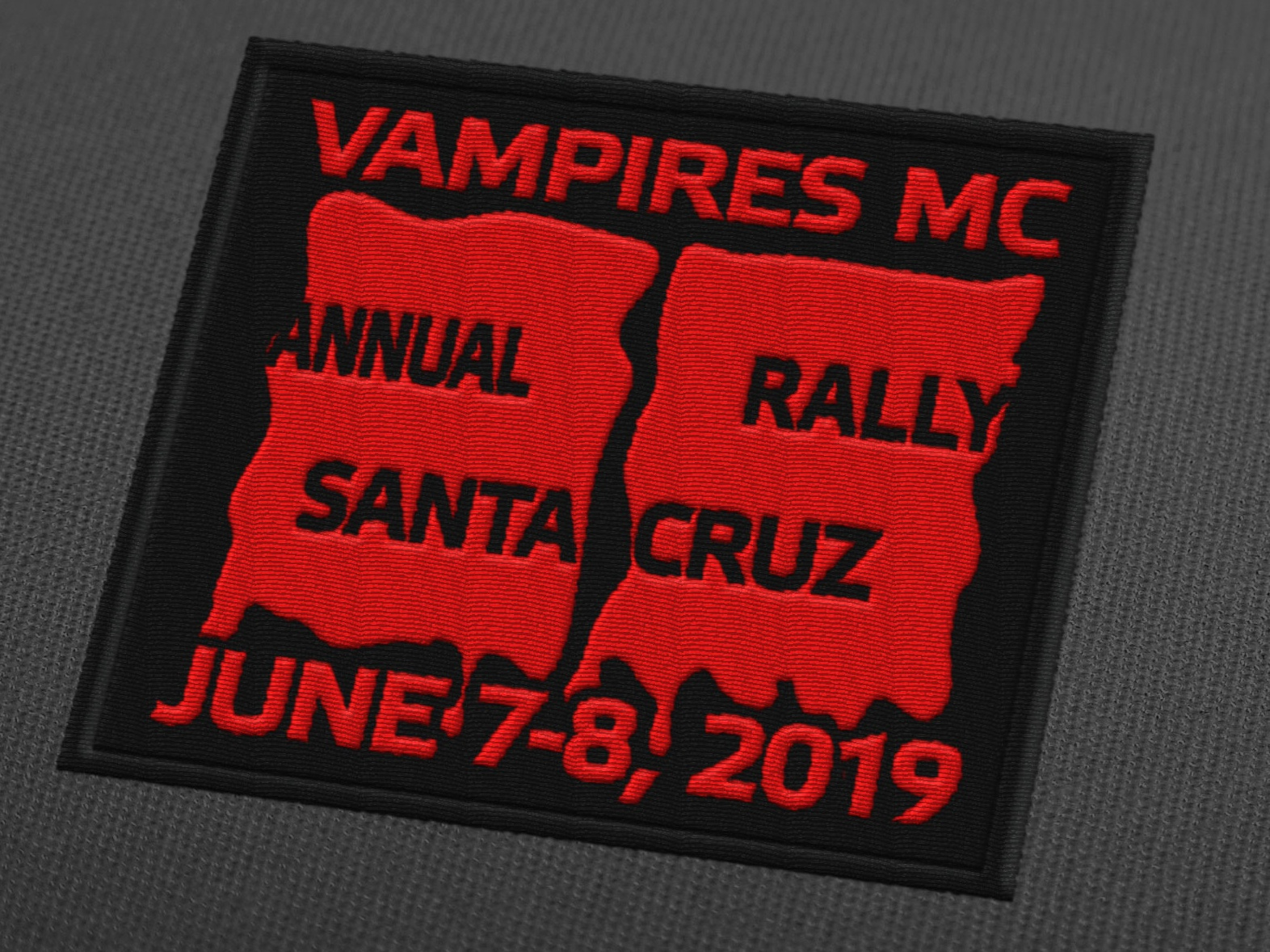 Vampires MC 25th Anniversary Patch motocycle negative space embroidered patch embroidery patch