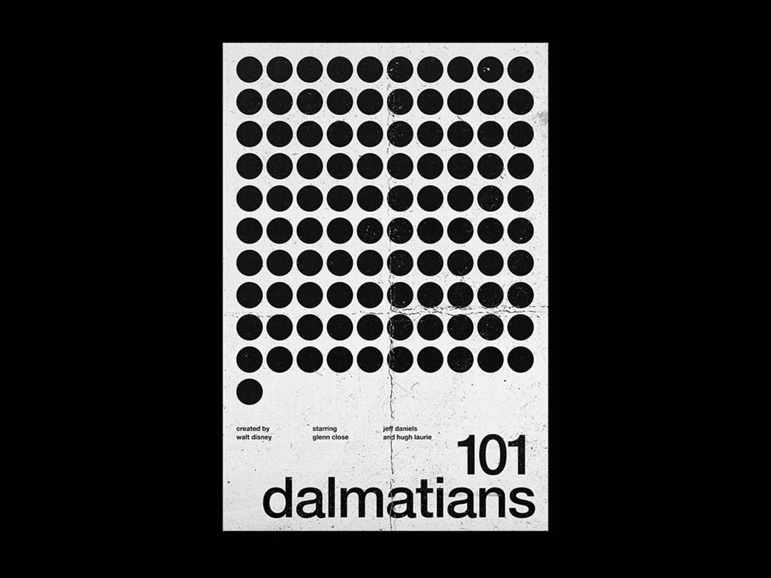 101 Dalmatians - Film Poster dalmatians 101 wallpaper wall art typography swiss style passion project movie movie poster film poster design