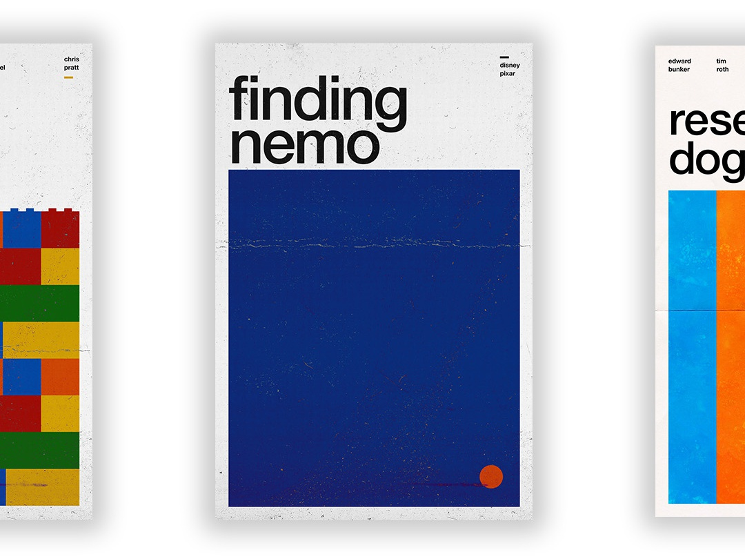 Finding Nemo - Film Poster pixar disney vector swiss wallpaper wall art typography swiss style passion project movie poster movie film poster design