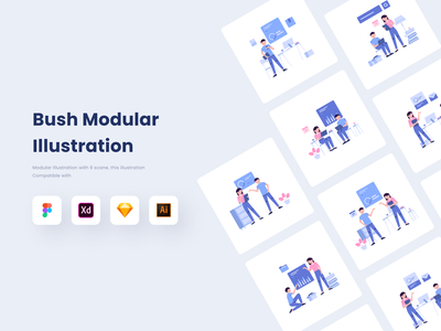 FREE! Modular Illustration Kit furniture flat design flat company business office modular team colorful freebies freebie free colaboration aplication illustration interface app design ux ui