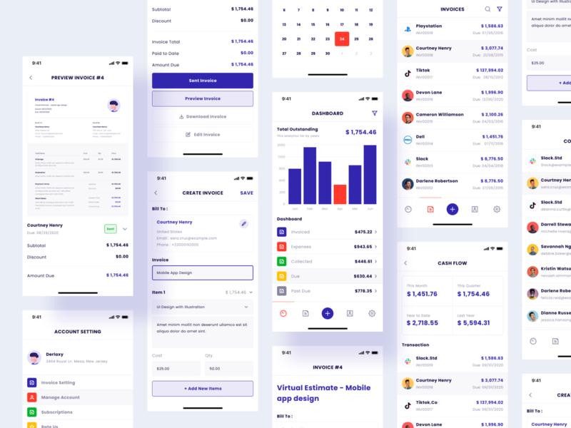 Invoice Maker Mobile App payment business finance app managment invoice app design dashboard product design flat interface app design ux ui