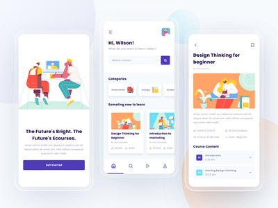 E-course mobile app learning platform learning app courses course learning product design flat minimal web interface app design ux ui