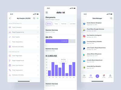 Datamid - Mobile App dataset database business analytics management app analytics dashboard analytics chart analytic dashboard product design flat interface app design ux ui