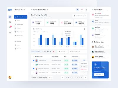 Store Panel Dashboard product platform market marketing management data analytics ecommerce dashboard store minimal web app design ux ui