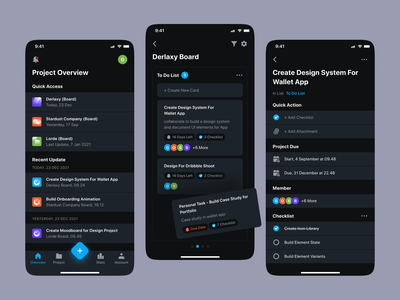 Task App - Darkmode business management to do app task app management app web interface dark minimal mobile app ux ui design
