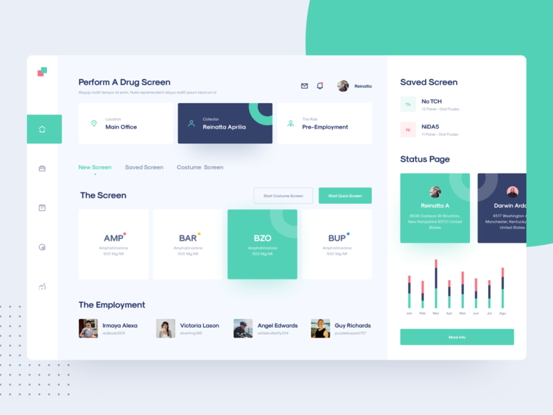 Drug Screen Ui Exploration medical product design app design management drug health dashboard website flat minimal interface web design app ux ui
