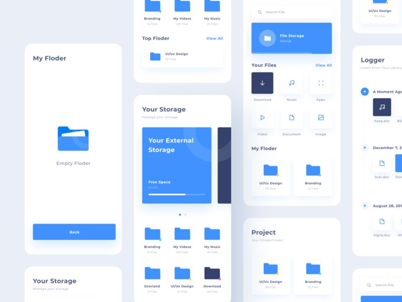 Ui File Explorer V2 derlaxy mobile ui cloud archive storage product design mobile explore website flat minimal interface web design app ux ui