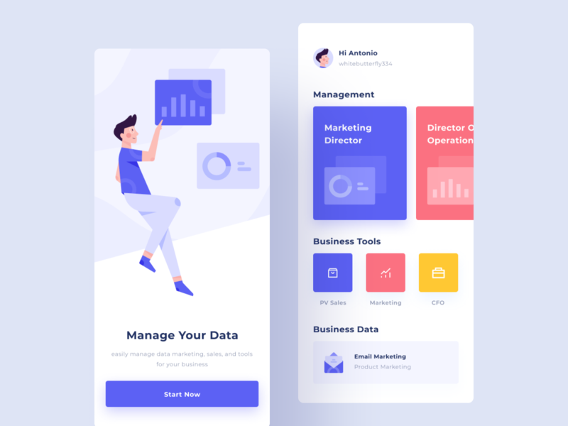 Bussines Management App bussines data marketing mobile management aplication dashboard website flat minimal interface web design app ux ui