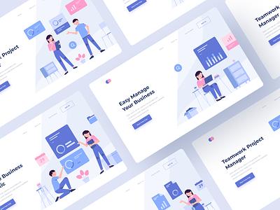 Web Illustration company agency marketing office landing page modular product design bussiness vector illustration website flat minimal interface web design app ux ui