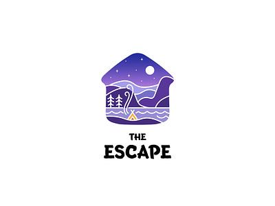 travel art icon vector logo design illustration outdoor escape landscape adventure travel getaway