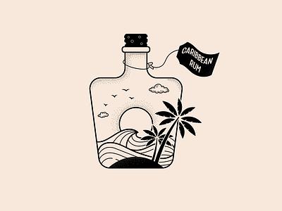 caribbean vintage alcohol bar icon design logo vector illustration sand palm tree beach caribbean