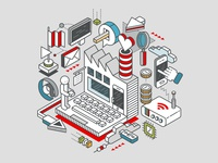 Isometric illustration for Vodafone