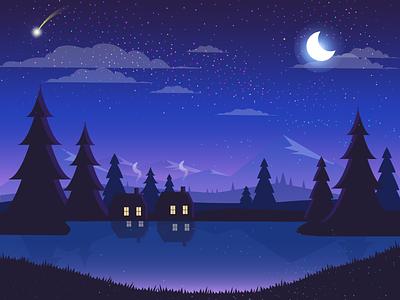 Night Light landscape landing page homepage logo ui ui kit illustration landscape design moonlight night light landscape uidesign uplabs behance dribbble