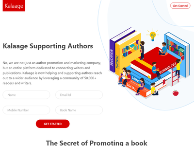 kalaage - Connecting Writers and Publishers Landing Page homepage landing page design landing page ui design design
