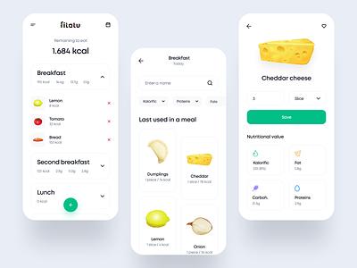 Fitatu - redesign concept diet calories product food app food fit fitatu ui interface application ios uxdesign uidesign interface simple uiux app clean ux ui design