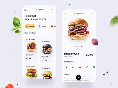 Food Delivery app burgers food design delivery app food delivery food app delivery food application app design ios uxdesign uidesign interface simple uiux app clean ux ui design