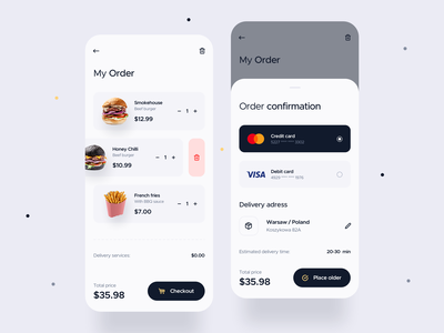 Food Delivery app -  order processing food confirm order payment app payment delivery app delivery mobile app mobile ios uxdesign uidesign interface simple uiux app clean ux ui design