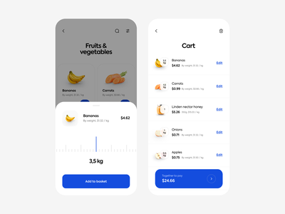 Grocery app - sliding bar & cart swipe weight cart basket vegetables grocery app grocery mobile app mobile ios interface uxdesign uidesign simple app uiux clean ux ui design