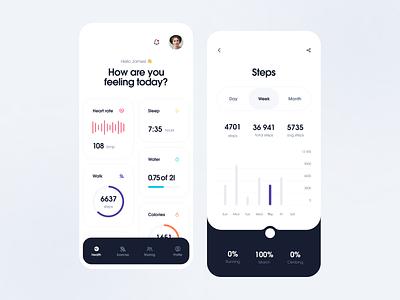 Health Tracker App interface modern steps health app application tracker health tracker health simple app uiux clean ui design ux