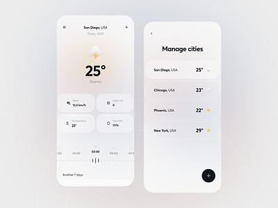 Weather app mobileapp mobile cities weatherapp weather minimalism application designapp interface simple app uiux clean ui ux design