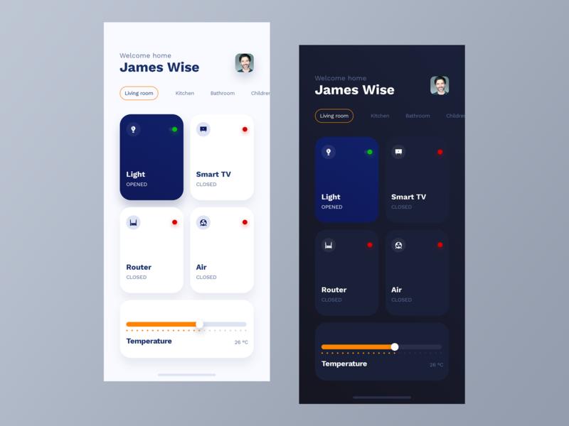 Smart Home - light & dark mode smarthome home smart uxdesign uidesign interface simple design ios clean app uiux ui ux
