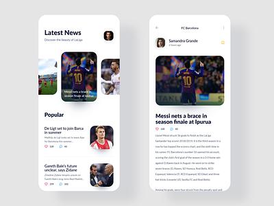 Breaking news of LaLiga  - mobile app articles laliga media sport app sport football news app news interface uxdesign uidesign simple ios clean design app uiux ux ui