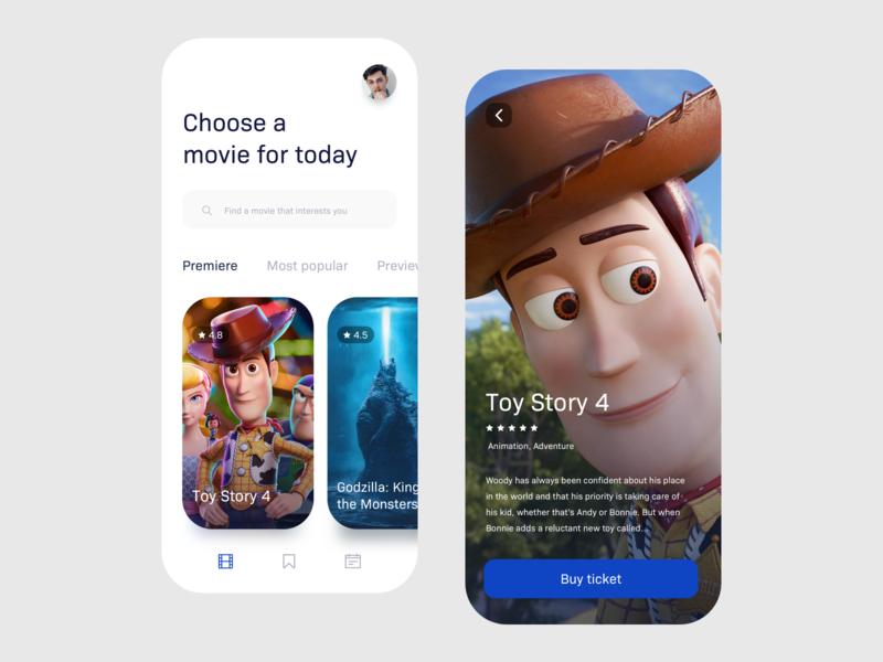 Cinema app minimalist toy story movies mobile app cinema app cinema user interface mobile uxdesign uidesign interface simple ios uiux app clean ux ui design