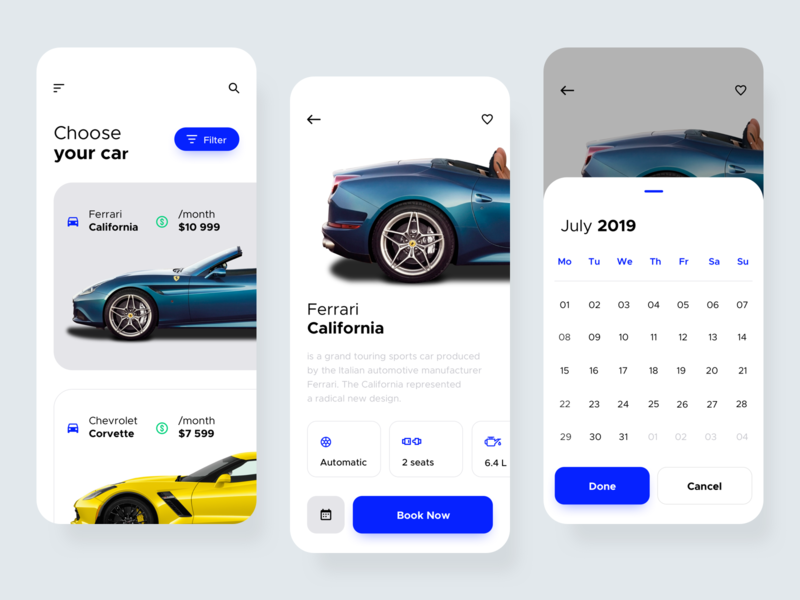 Car Rental Application car booking car rent rental app rental car app cars car mobile app mobile uxdesign uidesign interface simple ios uiux app clean ux ui design