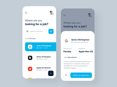 Job Portal - IOS Application interface design application job application job app job portal jobs job mobile app mobile uxdesign uidesign interface simple ios uiux app clean ui ux design