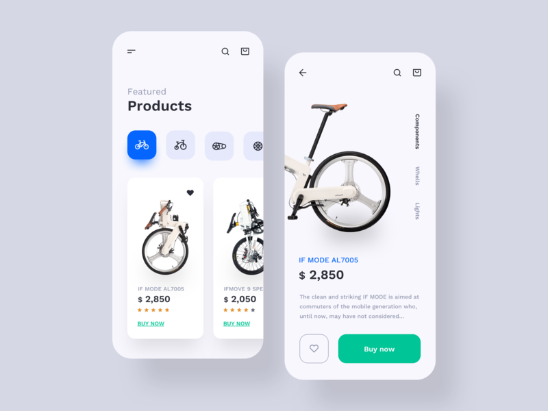 Bicycle Store App bicycle shop store bike app bike bicycle app bicycles bicycle mobile app mobile uxdesign uidesign interface simple ios uiux app clean ui ux design