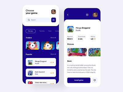Game Store App application game app minimalist clean ui uxdesign store game store games game uidesign interface simple ios uiux app clean ux ui design