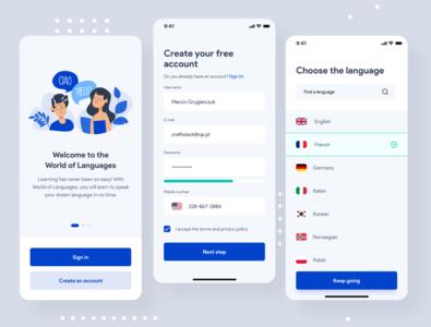 World of Languages - language learning app sign up learning app language learning languages onboarding app design application uxdesign uidesign interface ios simple uiux app clean ux ui design