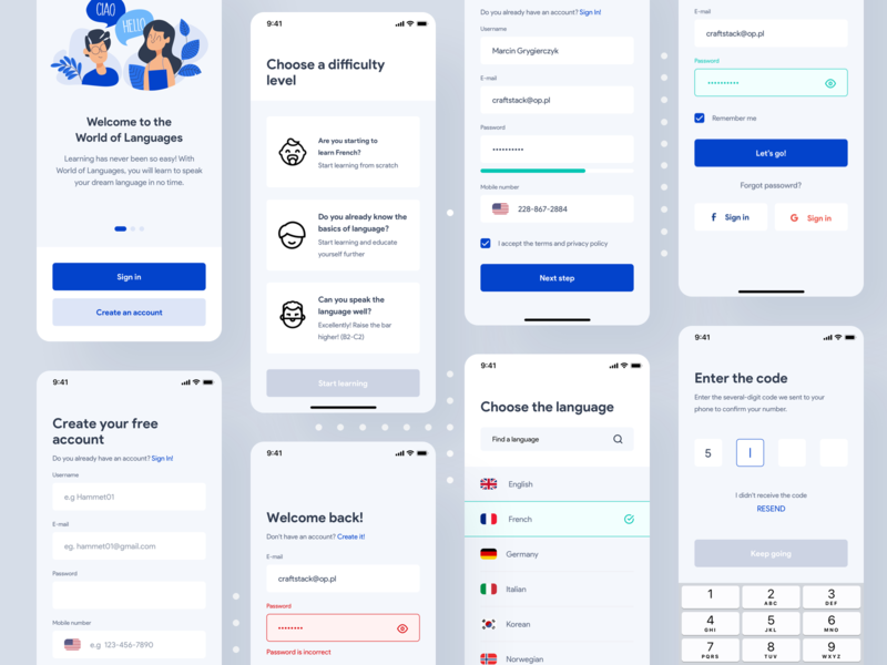 World of Languages - language learning app onboarding code sign in language learning languages learning app learning application design app uxdesign uidesign interface ios simple uiux app clean ui ux design