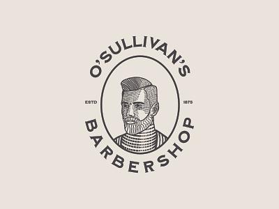 O'Sullivan's Barbershop Logo adobe illustrator vintage logo branding badge illustration graphic design design vector logo
