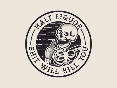 One time for Malt Liquor! illustration badge graphic design vector logo branding design
