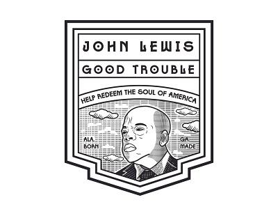 John Lewis vectorart engraving adobe illustrator typography graphic design illustration badge logo vector design