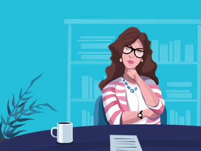 illustration for header businesswoman office plants portrait illustration girl flat design character