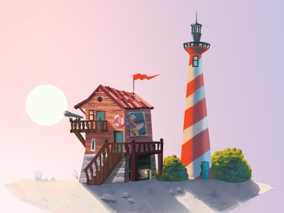 Sunset concept art illustration