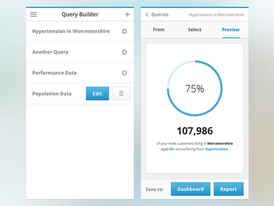 Query Builder - Mobile query builder query health medical dashboard ux analytics user flow mobile
