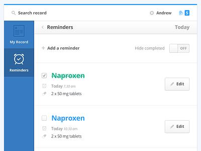 'Reminders' Tablet View user interface ui tablet medical health sidebar