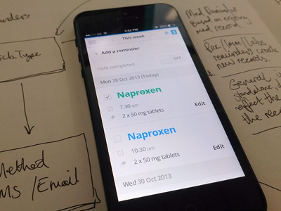 Reminders Mobile  mobile data medical health user interface ui todo reminders dashboard prototype