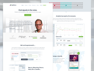 New Splitforce Homepage homepage design ab testing data chart ui