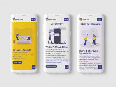 Yellow Glove | Home cleaning services - Final Design branding web illustration uiux ui website uidesign mock up webdesign