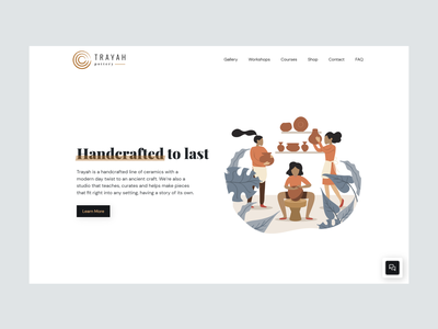 Trayah Pottery illustration branding mock up landing page web ui ux pottery