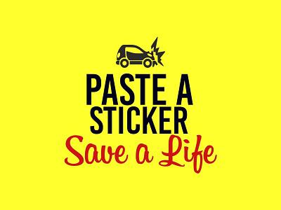 Paste a Sticker - Save a Life | Logo Design community service community car design yellow logo